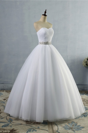 Gorgeous Strapless Sweetheart Tulle Wedding Dress Sleeveless Ruffles Bridal Gowns with Beadings Sash_4