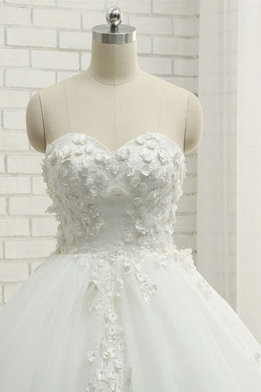 Gorgeous Sweatheart White Wedding Dresses With Appliques A line Tulle Ruffles Bridal Gowns Online_5