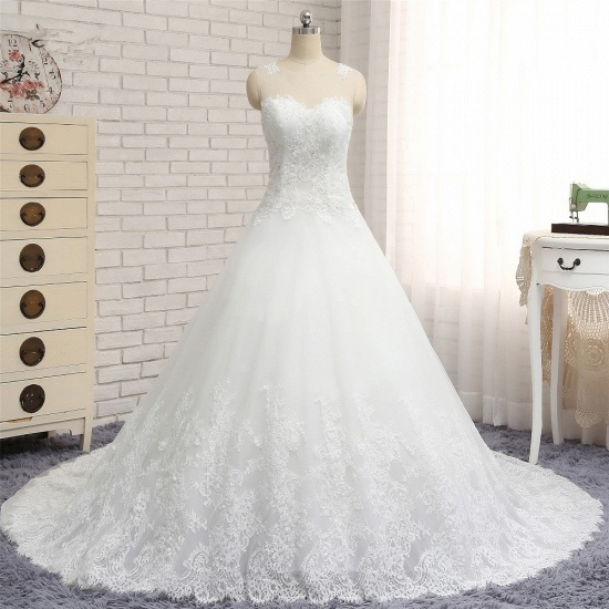 Chic White A-line Tulle Wedding Dresses Jewel Sleeveless Ruffle Bridal Gowns With Appliques On Sale_7