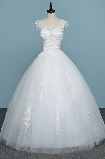Chic Jewel Tulle Lace White Wedding Dress Sleeveless Appliques Bridal Gowns with Flowers Online