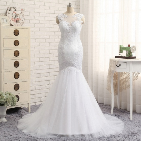 BMbridal Glamorous Jewel Sleeveless Tulle Wedding Dresses White Mermaid Satin Bridal Gowns With Appliques On Sale_6