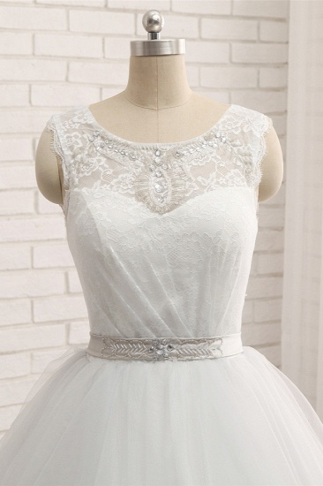 BMbridal Affordable White Sleeveless Tulle Wedding Dresses With Appliques A-line Jewel Bridal Gowns Online_5