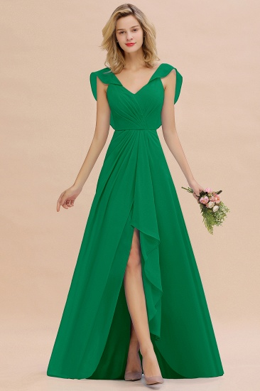 Modest Hi-Lo V-Neck Ruffle Long Bridesmaid Dress with Slit_49