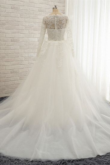 BMbridal Chic White Satin Mermaid Wedding Dresses Jewel Longsleeves With Appliques On Sale_3