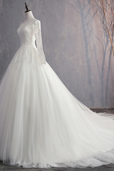 BMbridal Glamorous Jewel White Tulle Lace Wedding Dress Long Sleeves Appliques Bridal Gowns On Sale_4