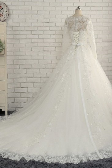 Modest Jewel Longsleeves White Wedding Dresses A-line Tulle Ruffles Bridal Gowns On Sale_3