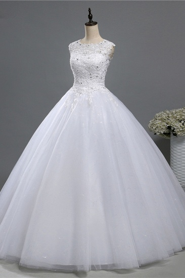 Chic Jewel Tulle Sequined Wedding Dress Sleeveless Appliques Beadings Bridal Gowns On Sale_1