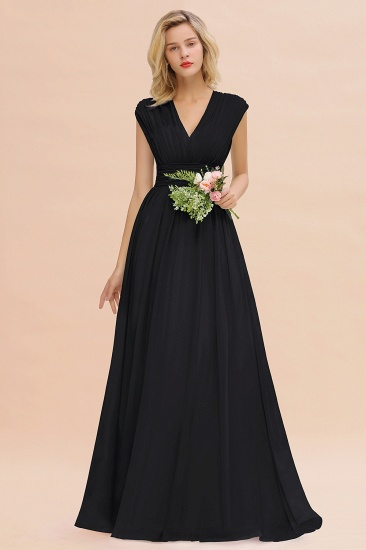 Elegant Chiffon V-Neck Ruffle Long Bridesmaid Dresses Affordable_29