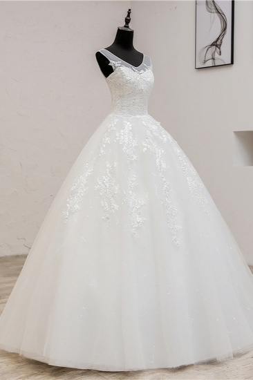 BMbridal Glamorous Sweetheart Tulle Lace Wedding Dress Ball Gown Sleeveless Appliques Ball Gowns On Sale_4