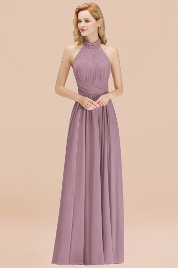 Gorgeous High-Neck Halter Backless Bridesmaid Dress Dusty Rose Chiffon Maid of Honor Dress_43