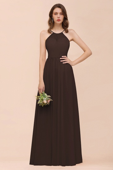 BMbridal Gorgeous Chiffon Halter Ruffle Affordable Long Bridesmaid Dress_11
