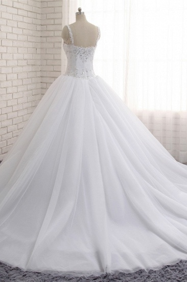 BMbridal Stunning White Tulle Lace Wedding Dress Strapless Sweetheart Beadings Bridal Gowns with Appliques_3