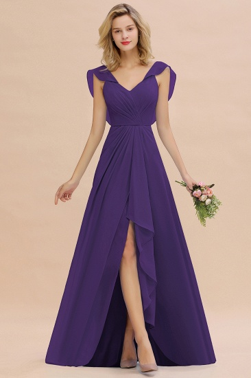 Modest Hi-Lo V-Neck Ruffle Long Bridesmaid Dress with Slit_19
