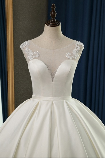 BMbridal Chic Satin Ball Gown Jewel Wedding Dress Sleeveless Appliques Ruffles Bridal Gowns On Sale_6