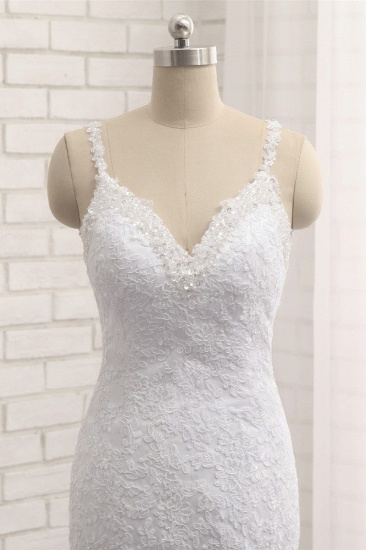 BMbridal Elegant V-neck White Mermaid Wedding Dresses Sleeveless Lace Bridal Gowns With Appliques On Sale_6