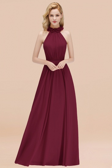 BMbridal Modest High-Neck Halter Ruffle Chiffon Bridesmaid Dresses Affordable_44