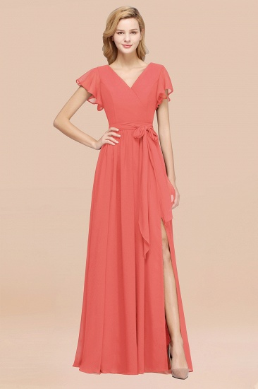 Burgundy V-Neck Long Bridesmaid Dress With Short-Sleeves_7