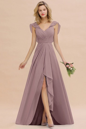 Modest Hi-Lo V-Neck Ruffle Long Bridesmaid Dress with Slit_37