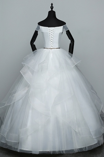 BMbridal Elegant Off-the-Shoulder Organza Wedding Dress Sleeveless Ruffles Bridal Gowns with Beading Sash_3
