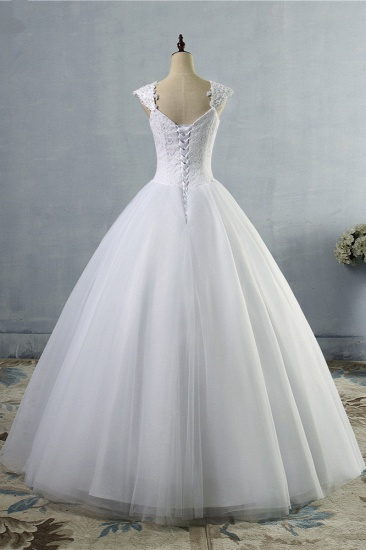 Affordable Sweetheart Tulle Lace Wedding Dresses Cap-Sleeves Appliques Bridal Gowns Online_3