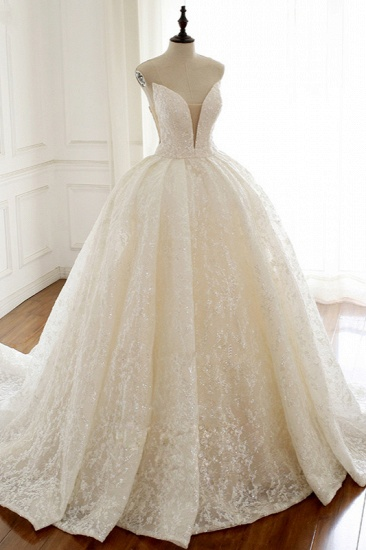 Sexy Deep-V-Neck Strapless Tulle Wedding Dress Sleeveless Lace Appiques Bridal Gowns On Sale_5