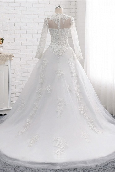 Modest Jewel White Tulle Lace Wedding Dress Long Sleeves Appliques A-Line Bridal Gowns On Sale_3