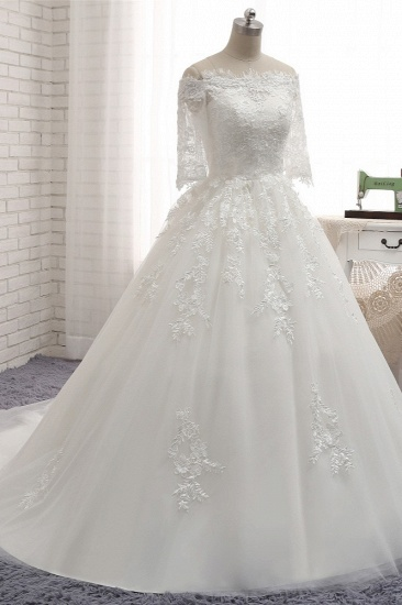 Gorgeous Bateau Halfsleeves White Wedding Dresses With Appliques A-line Tulle Ruffles Bridal Gowns Online_4