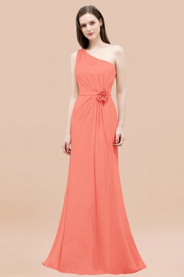 Affordable Mermaid One shoulder Pink Bridesmaid Dresses with Flowers_45