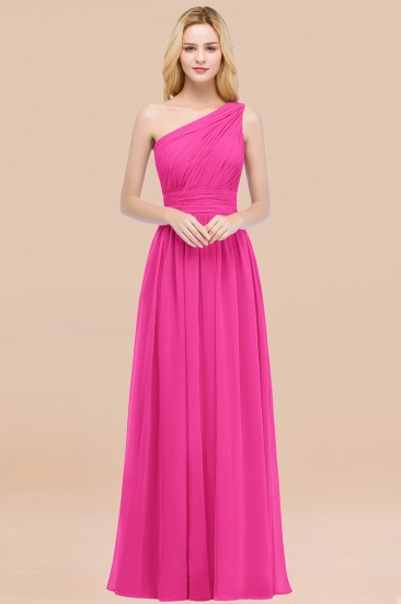 Chic One-shoulder Sleeveless Burgundy Chiffon Bridesmaid Dresses Online_9