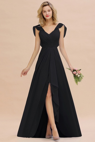 Modest Hi-Lo V-Neck Ruffle Long Bridesmaid Dress with Slit_29