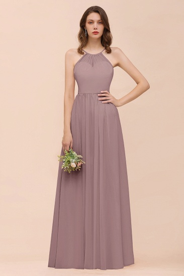 BMbridal Gorgeous Chiffon Halter Ruffle Affordable Long Bridesmaid Dress_37
