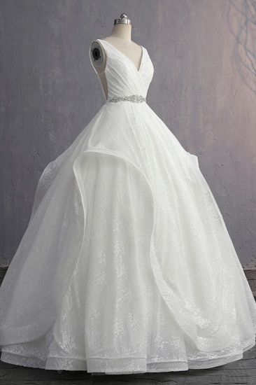 Unique V-Neck Ruffles Lace White Wedding Dress Appliques Sleeveless Bridal Gowns with Beadings On Sale_5
