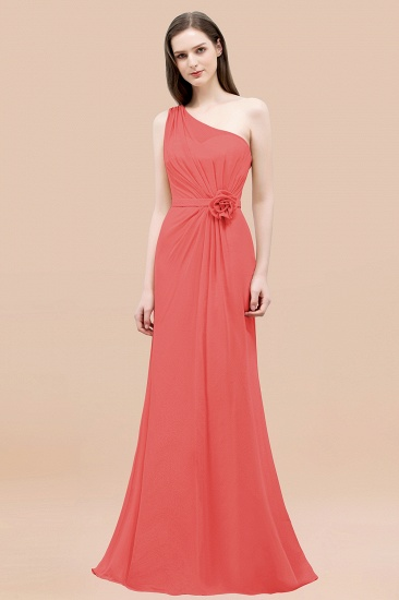 Affordable Mermaid One shoulder Pink Bridesmaid Dresses with Flowers_7