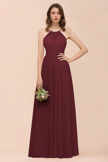 BMbridal Gorgeous Chiffon Halter Ruffle Affordable Long Bridesmaid Dress_10