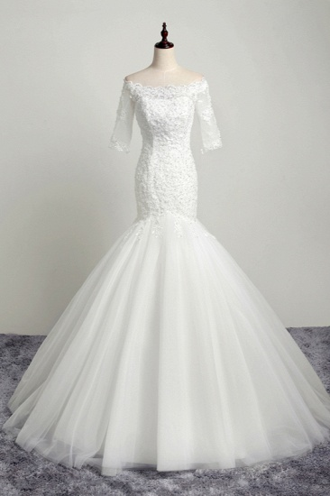 BMbridal Gorgeous Off-the-Shoulder Tulle Lace Wedding Dress Mermaid Half Sleeves Appliques Beadings Bridal Gowns On Sale_1