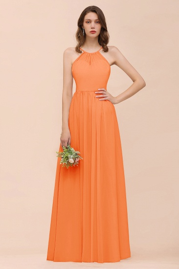 BMbridal Gorgeous Chiffon Halter Ruffle Affordable Long Bridesmaid Dress_15