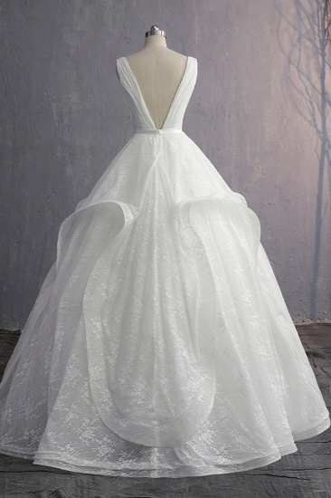 Unique V-Neck Ruffles Lace White Wedding Dress Appliques Sleeveless Bridal Gowns with Beadings On Sale_3