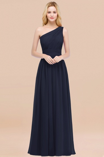 Chic One-shoulder Sleeveless Burgundy Chiffon Bridesmaid Dresses Online_28