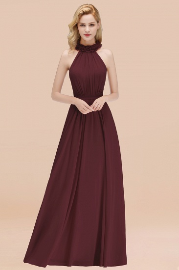 Modest High-Neck Halter Ruffle Chiffon Bridesmaid Dresses Affordable_47