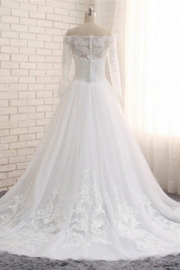 Unique Bateau Longsleeves A-line Wedding Dresses With Appliques White Tulle Bridal Gowns On Sale_3