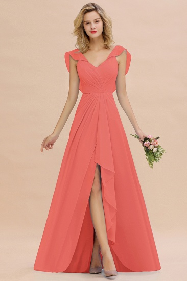 Modest Hi-Lo V-Neck Ruffle Long Bridesmaid Dress with Slit_7