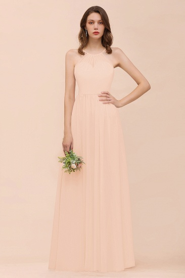 BMbridal Gorgeous Chiffon Halter Ruffle Affordable Long Bridesmaid Dress_5