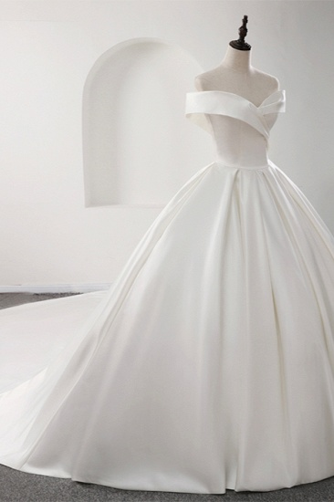 BMbridal Glamorous White Satin Ruffles Wedding Dresses Off-the-shoulder A-line Bridal Gowns Online_4