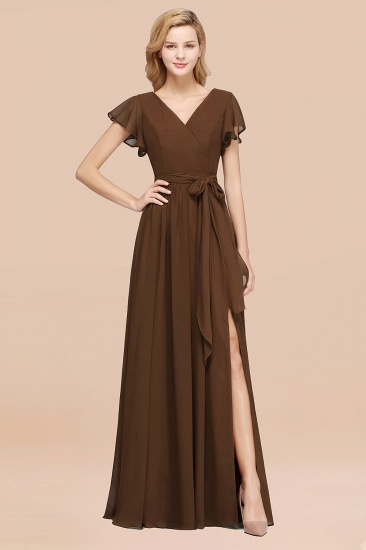 BMbridal Burgundy V-Neck Long Bridesmaid Dress With Short-Sleeves_12