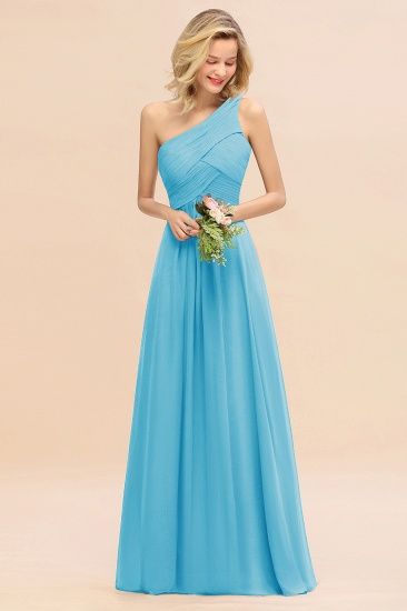 Chic One Shoulder Ruffle Grape Chiffon Bridesmaid Dresses Online_24