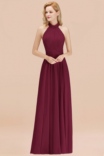 Gorgeous High-Neck Halter Backless Bridesmaid Dress Dusty Rose Chiffon Maid of Honor Dress_44
