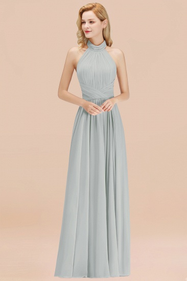 Gorgeous High-Neck Halter Backless Bridesmaid Dress Dusty Rose Chiffon Maid of Honor Dress_38