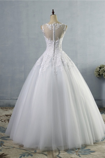 BMbridal Ball Gown Jewel Tulle Lace Wedding Dress White Appliques Sleeveless Bridal Gowns On Sale_3