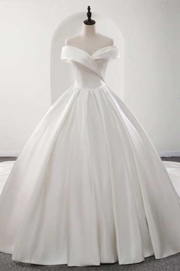 BMbridal Glamorous White Satin Ruffles Wedding Dresses Off-the-shoulder A-line Bridal Gowns Online_1