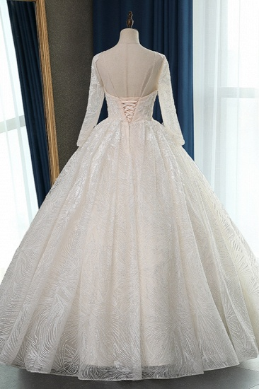 BMbridal Glamorous Ball Gown Jewel Appliques Wedding Dress Long Sleeves Bridal Gowns Online_3